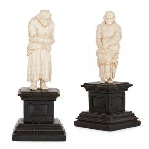 Pair of German carved ivory figures of peasant women
