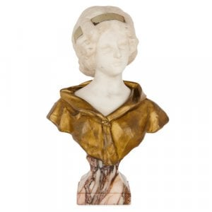 Ormolu and marble bust of a young lady by Gory