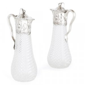 Pair of Art Nouveau silver and cut glass jugs by Wilhelm Binder