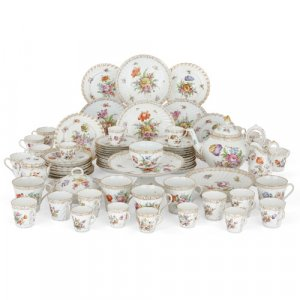Large antique Dresden porcelain dessert service