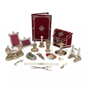 Silver-gilt and malachite Austro-Hungarian travel desk set