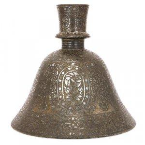 Antique Indian Bidriware metal hookah pipe base