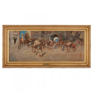 Antique Orientalist oil painting in giltwood frame