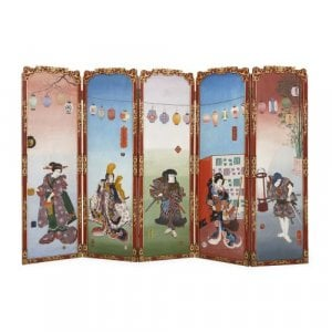 Antique Japonisme wooden folding screen with five panels