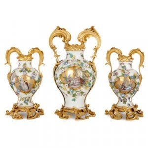 Ormolu mounted Meissen porcelain garniture