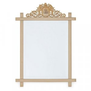 Antique rectangular mirror set in an ivory frame