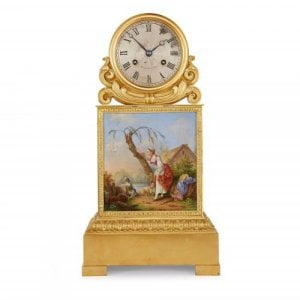 Ormolu and porcelain antique mantel clock by Raingo Frères