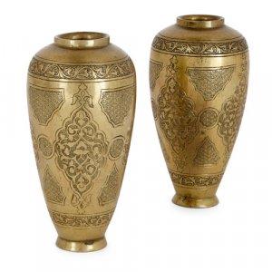 Pair of Bezalel antique brass vases by Alfred Salzmann