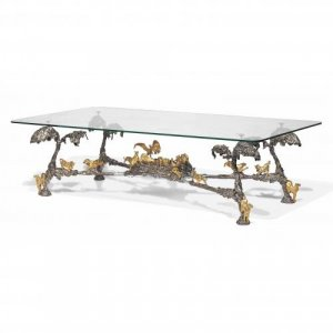 Modern silvered and gilt bronze coffee table by JM David