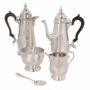 Antique English Edwardian period sterling silver coffee set