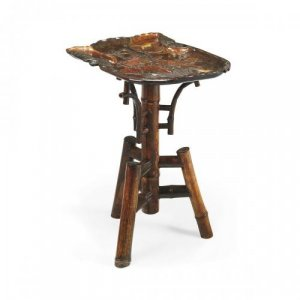 Japanese Meiji period bone inlaid laquer occasional table