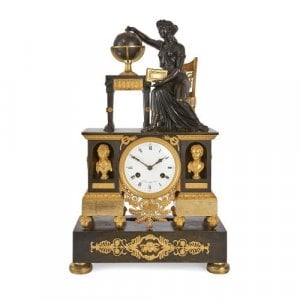 French gilt and patinated bronze antique Empire mantel clock