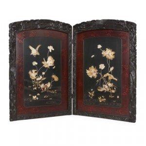 Japanese Meiji period folding carved wood Shibayama screen