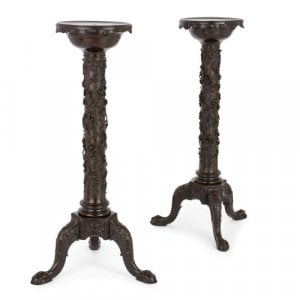 Pair of French antique carved wooden pedestals