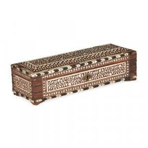 Antique Indian wooden box inlaid with ivory