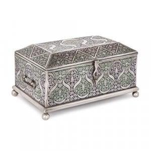 Large antique engraved and enamelled Bukhara silver casket