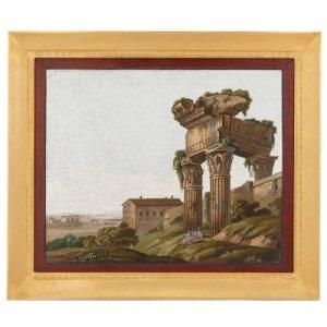 Antique Italian micromosaic plaque in ormolu frame