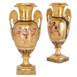 Antique French Neoclassical Paris porcelain gilt vases