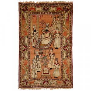 Rare Persian Judaica pictorial Kirman carpet