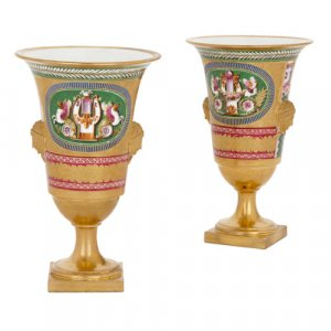 Pair of Empire period porcelain vases by Dihl et Guérhard