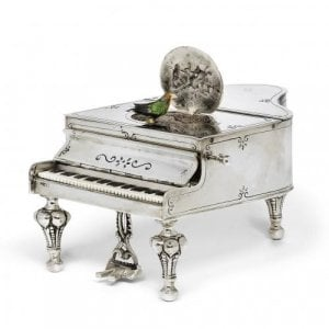 German silver musical bird box in the form of a grand piano