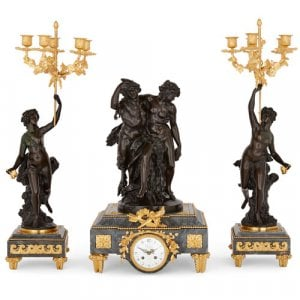 Gilt and patinated bronze marble clock set by Denière