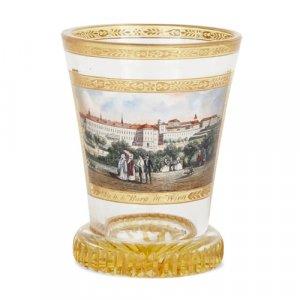 Antique Austrian enamelled glass beaker after Kothgasser