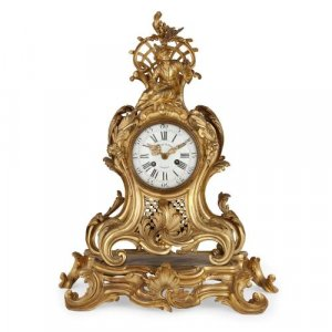 Louis XV period Chinoiserie style gilt bronze mantel clock