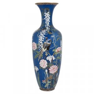 Large antique Meiji period blue cloisonne enamel vase