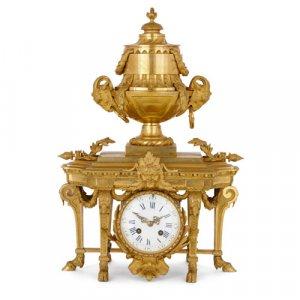 Louis XVI style French antique ormolu mantel clock
