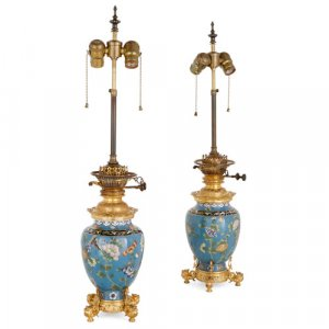Pair of ormolu mounted Chinese cloisonné enamel lamps