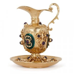 Silver gilt, enamel and precious stone miniature ewer and stand