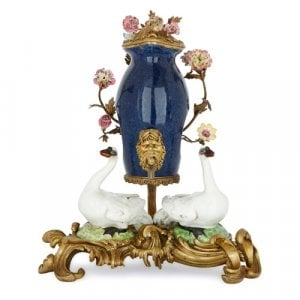 Ormolu mounted Meissen style porcelain table fountain