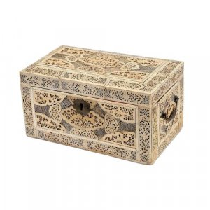 Copper mounted veneered wood Chinese box with bone plaques
