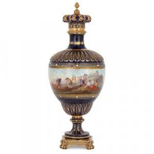 Napoleon III period Sèvres style porcelain and ormolu vase
