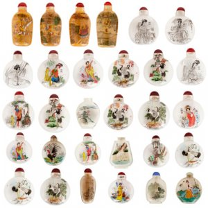 Collection of thirty Chinese enamelled glass snuff bottles
