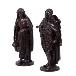 Pair of Orientalist patinated bronze figures by J. Salmson