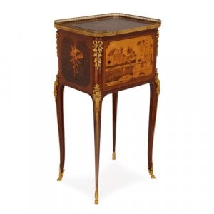 Transitional style ormolu and marquetry antique side table
