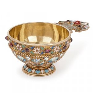 Bejewelled cloisonné enamel Russian charka by Ovchinnikov