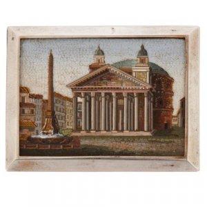 Antique micro-mosaic plaque of the Piazza Della Rotonda