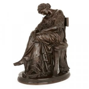 Antique patinated bronze sculpture of Penelope, by Cavelier