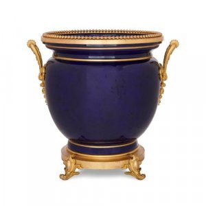 Ormolu mounted Sevres style blue porcelain jardiniere