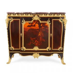 Ormolu, kingwood and Vernis Martin side cabinet by Linke