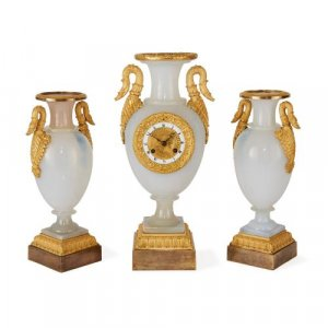 Restauration period opaline glass clock set by de Boussiard