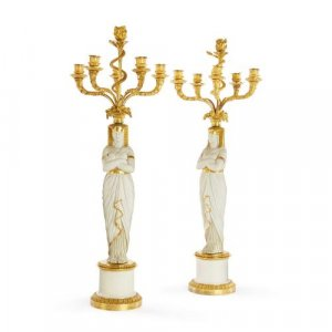 Pair of ormolu and bisque porcelain antique candelabra