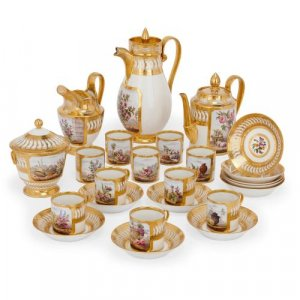 French Empire period Paris porcelain tea and coffee set