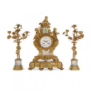Sèvres style porcelain mounted ormolu clock set by Picard
