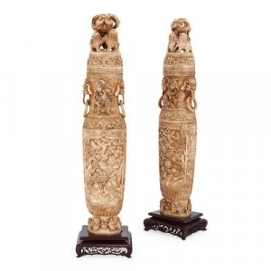 Pair of antique Chinese carved ivory vases and covers