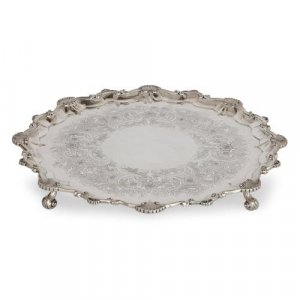 Large antique English silver salver by Dobson & Sons