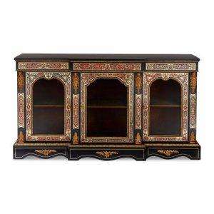 Victorian Boulle and ormolu mounted antique vitrine cabinet